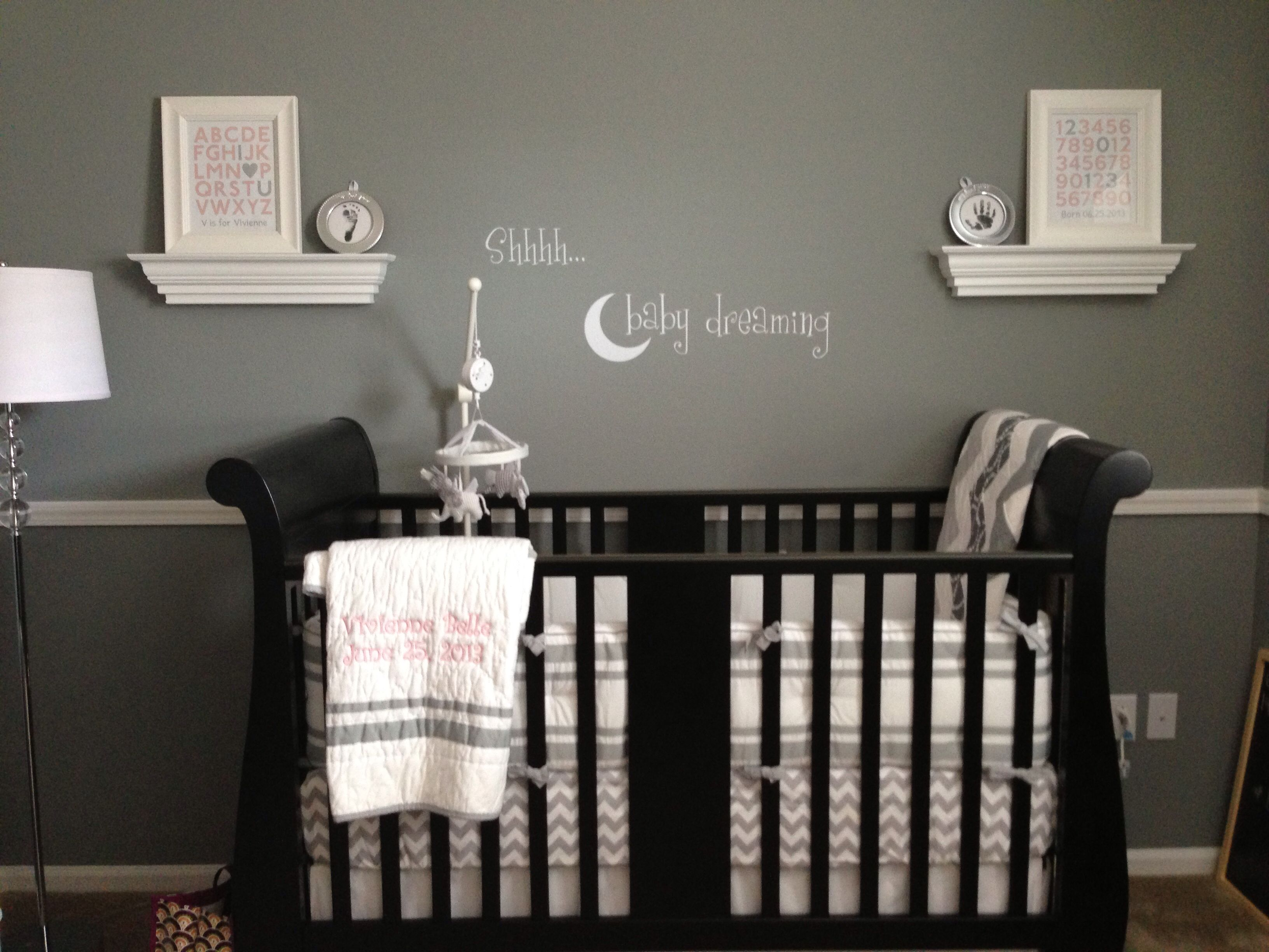 Nursery dark gray walls dark crib white accents baby Nursery wall ideas