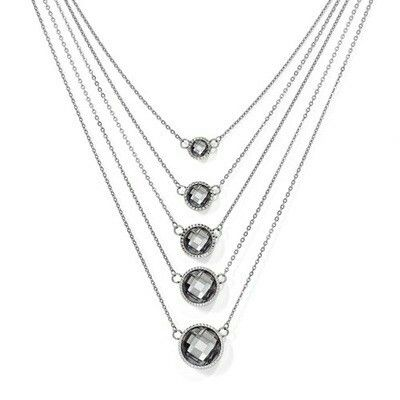 Stainless Steel Gray Faceted Crystal 5 Tier Necklace