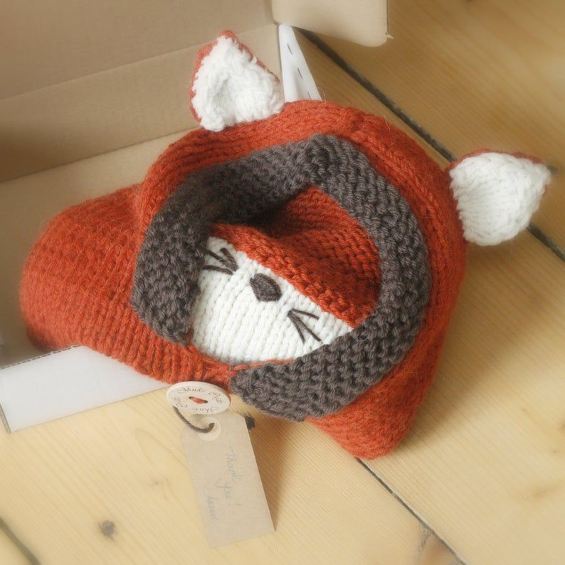 Knit fox hood cowl Rene - PDF knitting pattern - baby, toddler, child, adult #crochetedkitemsthatsell