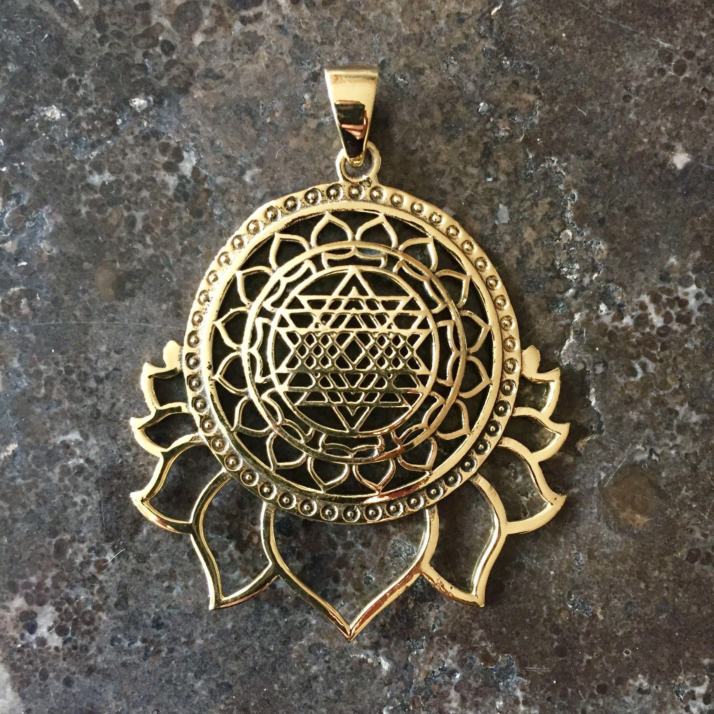 Sri yantra lotus pendant sri yantra and lotus sri yantra lotus pendant mozeypictures Images