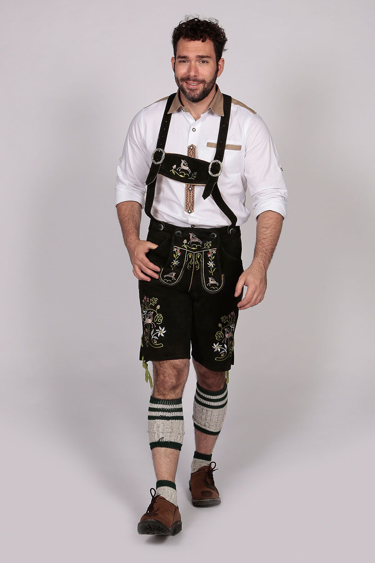 Black leather with green embroidery Lederhosen Suspenders