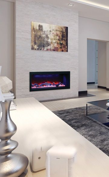 Amantii bi 50 deep electric fireplace shown with logs and himalayan salt inside