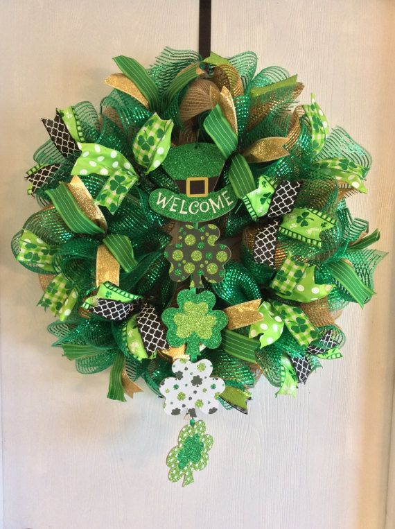 Photo of Burlap St. Patrick & # 39; s Day Wreath, Lucky Wreath, St. Patrick & # 39; s Day Wreath, St. Patrick's Day Mesh Wreath, Irish Wreath