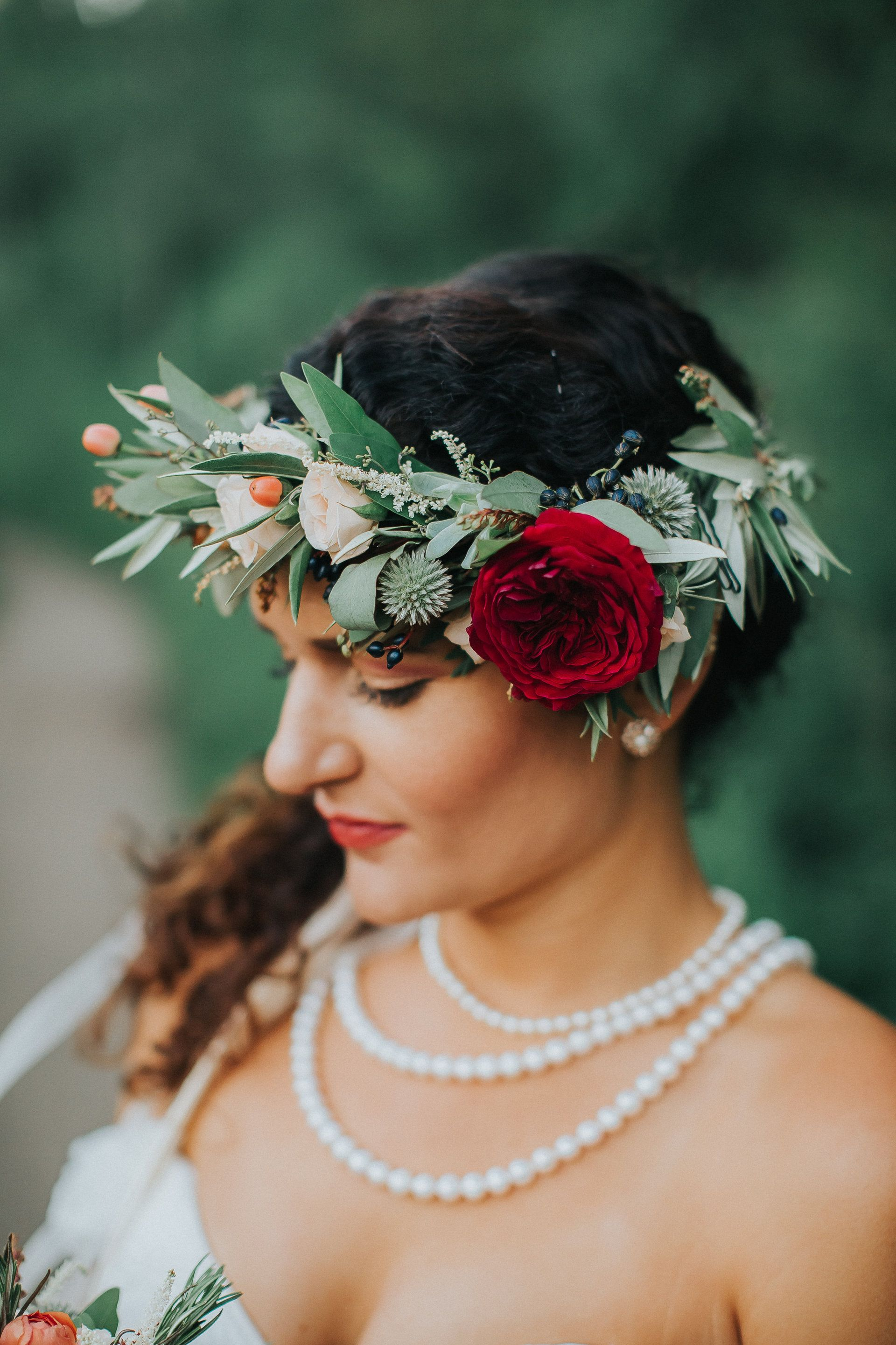 Boho Chic Bride Leafy Red And White Flower Crown Natural Wedding