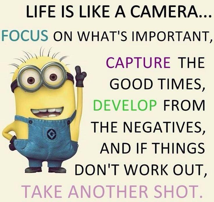 minions life is like a camera - Google Search | Minions quotes, Funny  minion quotes, Minion quotes