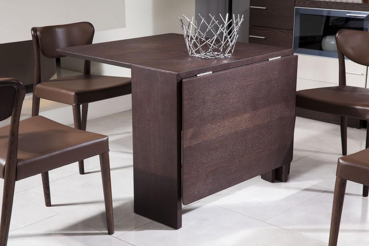 Both Sides Of The Modrest Union Modern Brown Oak Folding Dining Table Fold Down To Create Extra Storage E This Is Perfect For Smaller Homes