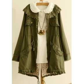 Wholesale Youthful & Awesome Pure Color Lapel Long Sleeve Lace Embroidery Tieback Coat----Army-green top dresses