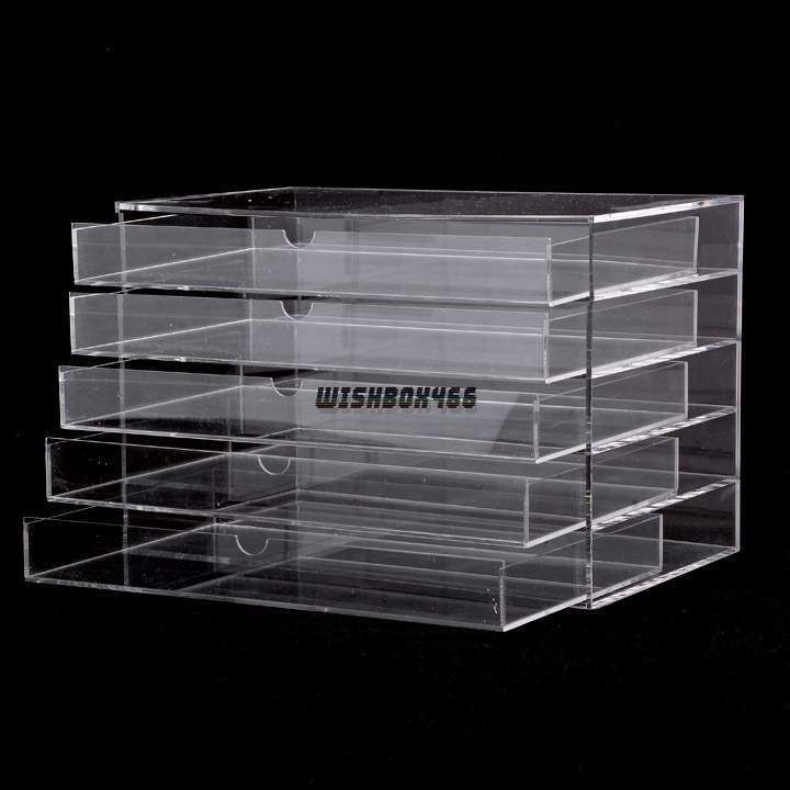 Clear Makeup Case 5 Drawers Cosmetic Organizer Jewelry Storage