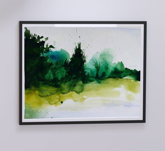 Watercolor Painting Of Green Landscape Painting Of A Scenery