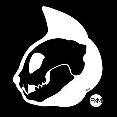 Cat Skull Profile Inverted Art Print