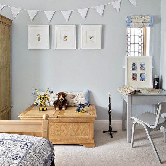 Kids Bedroom Bunting child's bedroom with pale blue walls and bunting | pale blue walls