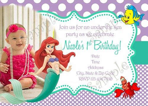 Little Mermaid Invitation Ariel Invitation FREE Thank You Card - Custom ariel birthday invitations