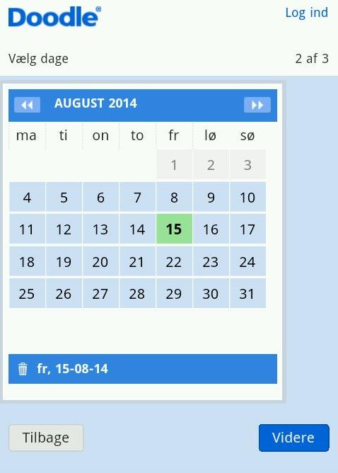 Fastsæt dato for begivenheden