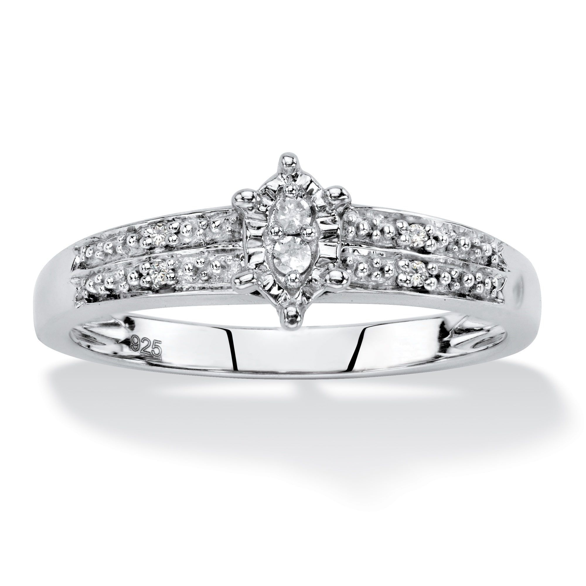 Diamond Accent Marquise-Shaped Engagement Ring In Platinum