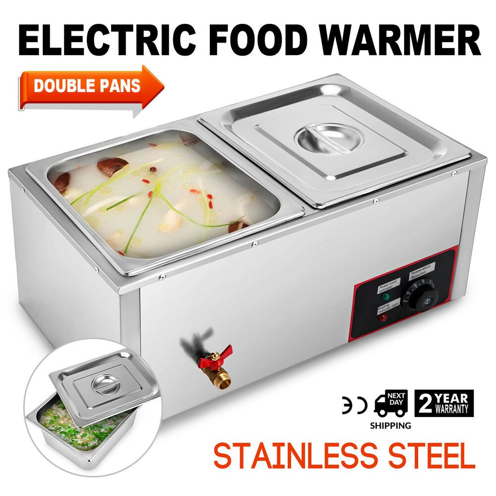 Ebay Sponsored 2 Pan Hot Well Bain Marie Food Warmer 110v 850w