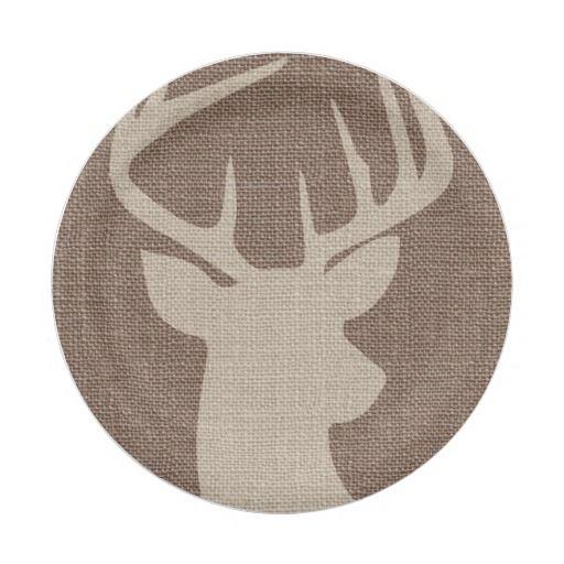 Rustic Burlap Deer Buck | Paper Plate | Burlap, Babies and Birthdays