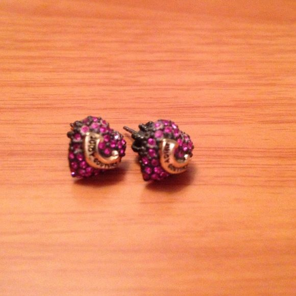 Juicy Couture Pave Stud Earrings Purple Juicy Couture stud earrings with gold 'Juicy Couture' banner. Well-loved but still good condition, no missing stones. No trades. Make offers! Juicy Couture Jewelry Earrings
