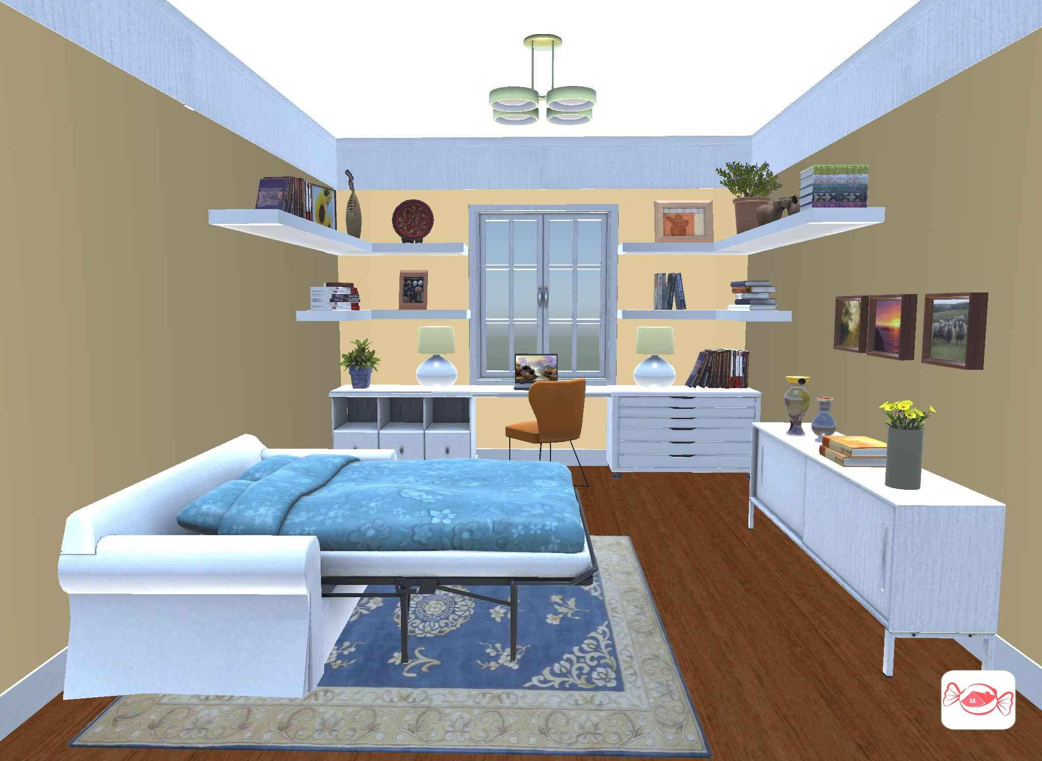 Office Guest Bedroom Created With Home Sweet Home 3d App Design