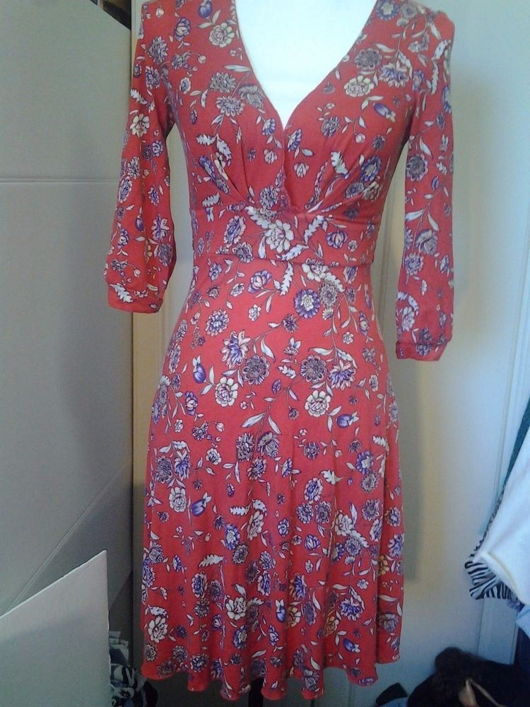 Free People Red Floral Boho XS Dress Anthropology 3/4 Sleeves Halter #FreePeople