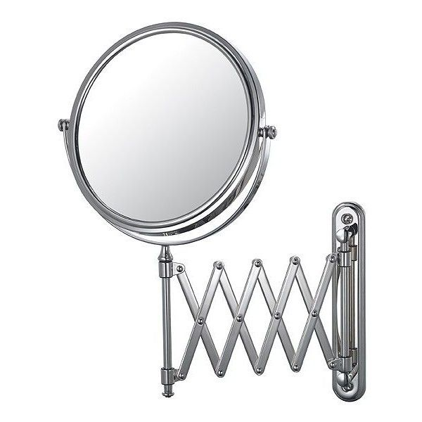 Aptations Chrome Swing Arm Vanity Mirror ($180) ❤ liked on Polyvore featuring home, bed & bath, bath, bath accessories, mirrors, decor, furniture, chrome bathroom accessories, chrome bath accessories and chrome vanity mirror