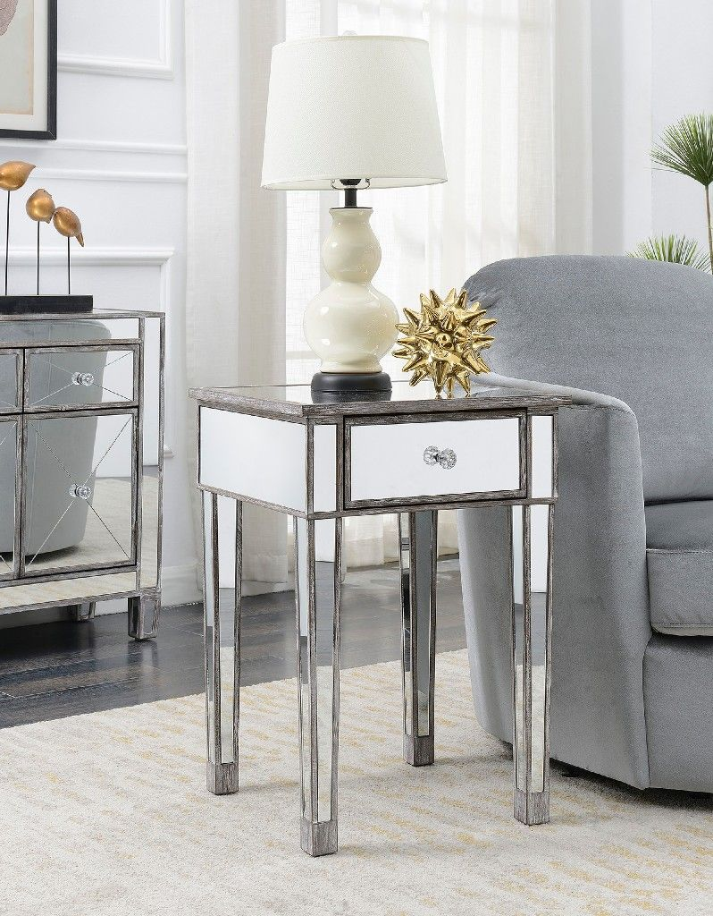Gold Coast Mirrored End Table W Drawer In Weathered Gray Convenience Concepts 413345wgy In 2020 Mirrored End Table End Tables Home Decor