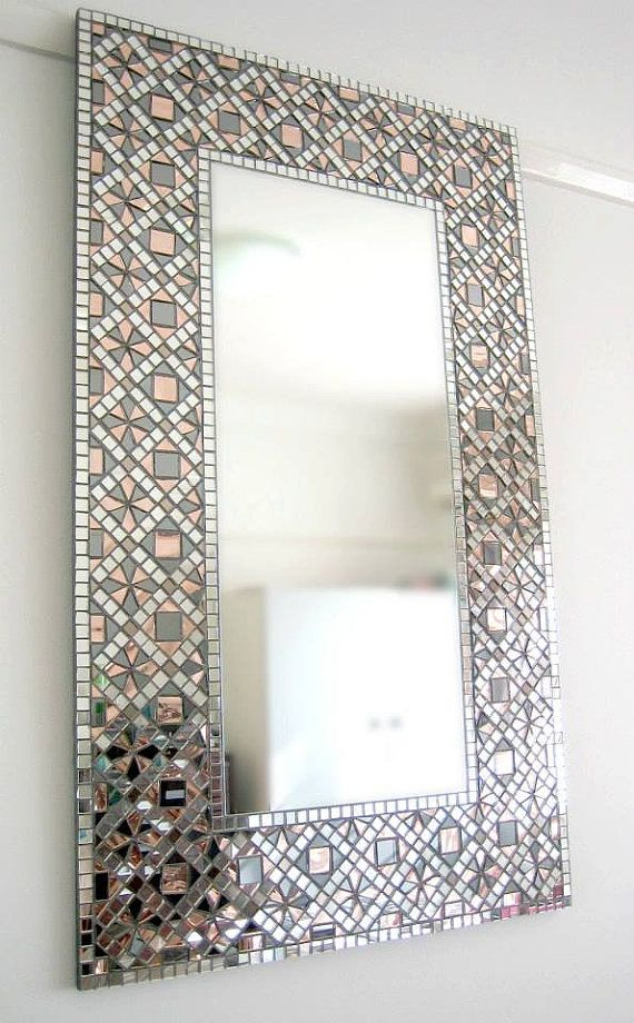 Handmade Wall Mirror, Mosaic Mirror, Art Deco, Geometric, Framed ...