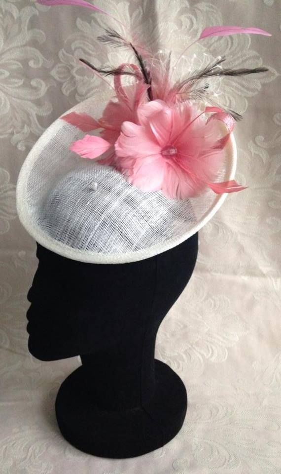 Ivory Saucer Fascinator with Pink Feather Flowers