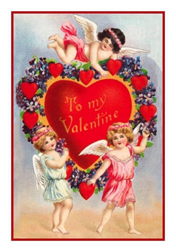 Valentine 3 Cherubs Hearts Counted Cross Stitch Chart Pattern