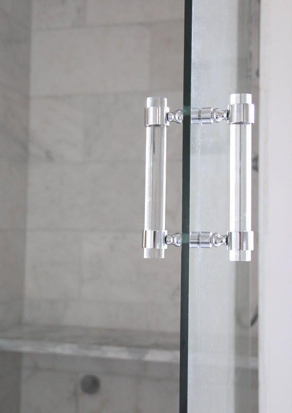 Lucite Shower Door Pull Handles (PAIR) - Brass, Satin Brass