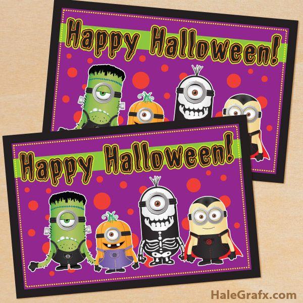 Free Printable Minion Halloween Card Minions Pinterest Minion