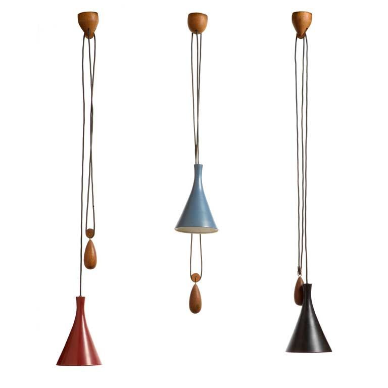 Set Of Three Hanging Lamps With Enameled Metal Shades And Teak