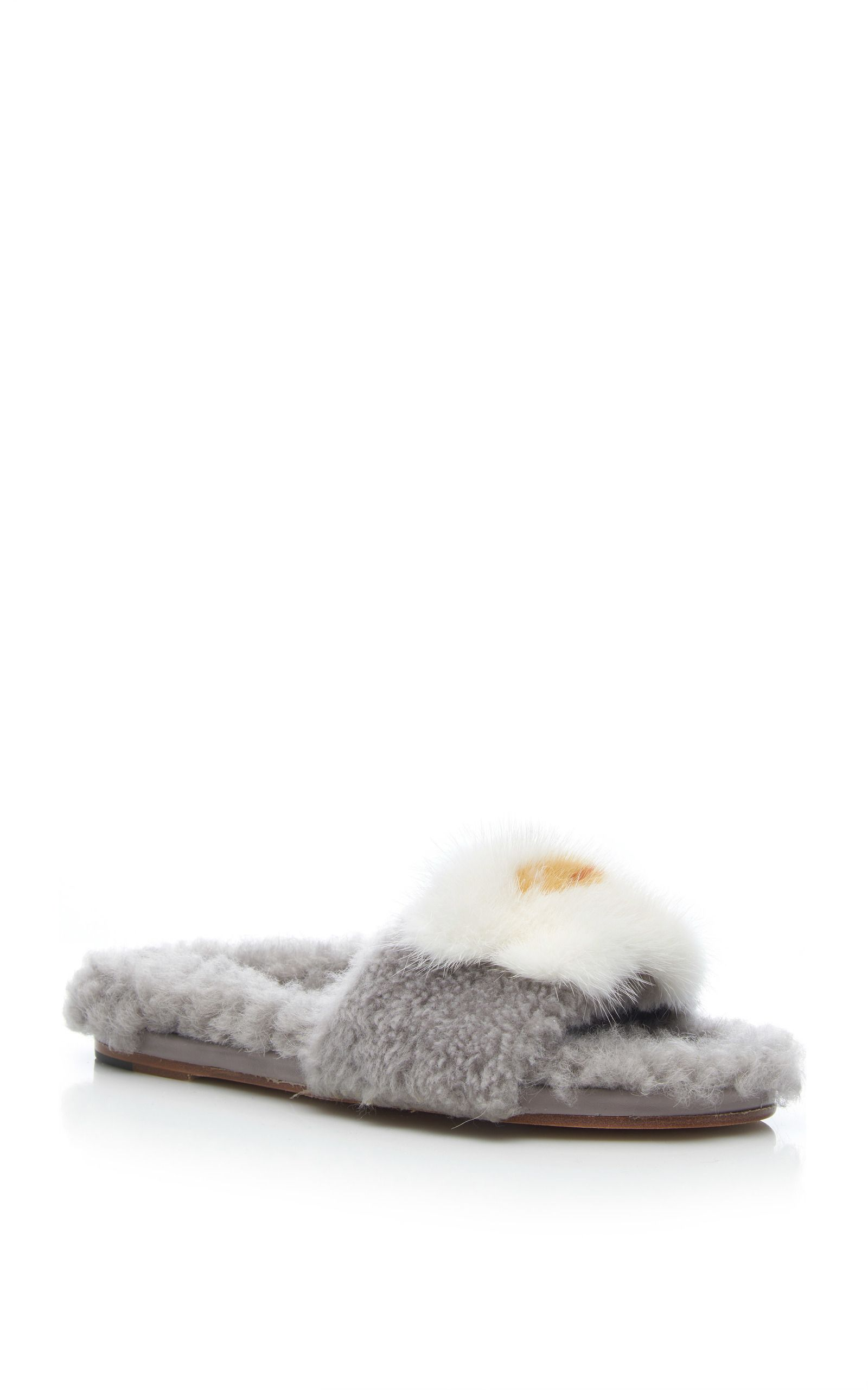 Black Shearling Egg Slides Anya Hindmarch uO6DO8