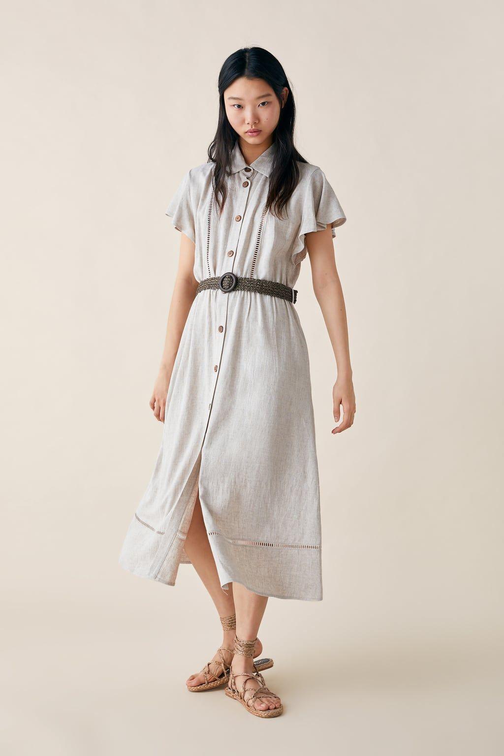 98a3e0a3 Rustic dress with belt in 2019 | zara 2019 | Rustic dresses, Dresses ...
