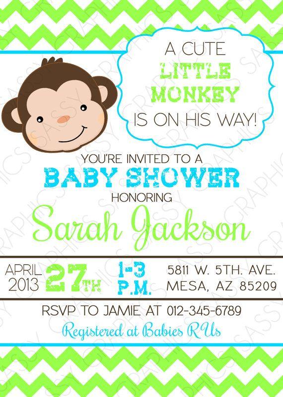 Boys baby shower invitation monkey chevron blue green brown boys baby shower invitation monkey chevron blue green by sassygfx 1300 filmwisefo Images