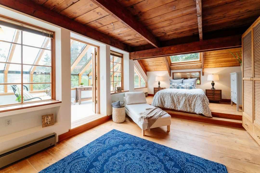 Bedroom In A 1978 House Constructed Out Of Reclaimed Timber And Outfitted  With Various Repurposed Ship Materials In Bainbridge Island, Seattle.