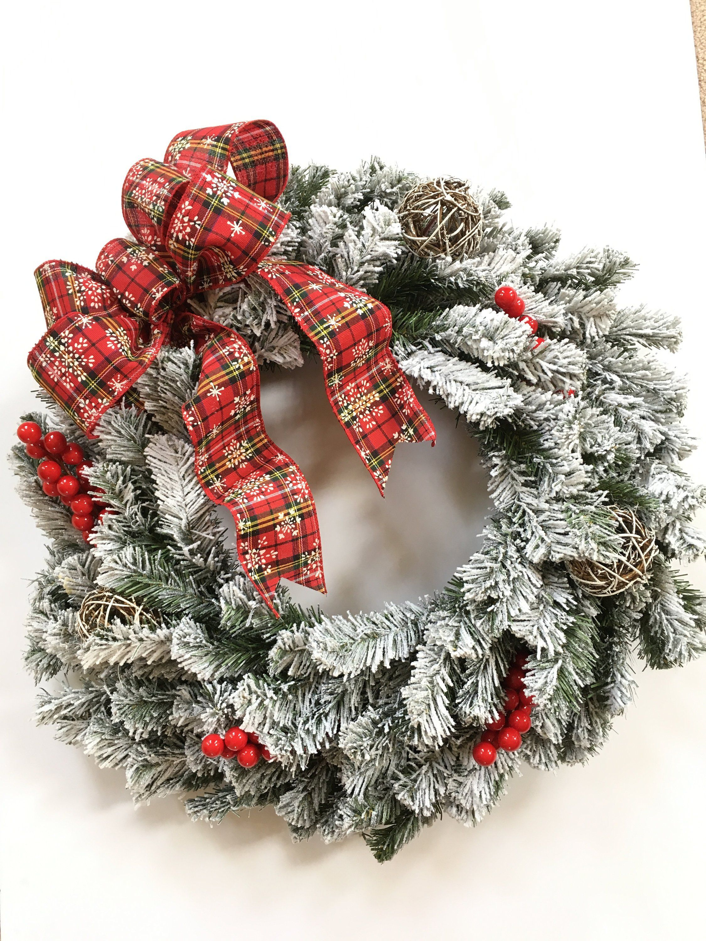 Winter Wreath, Holiday Wreath, Christmas Wreath, Flocked Wreath, Red Bow