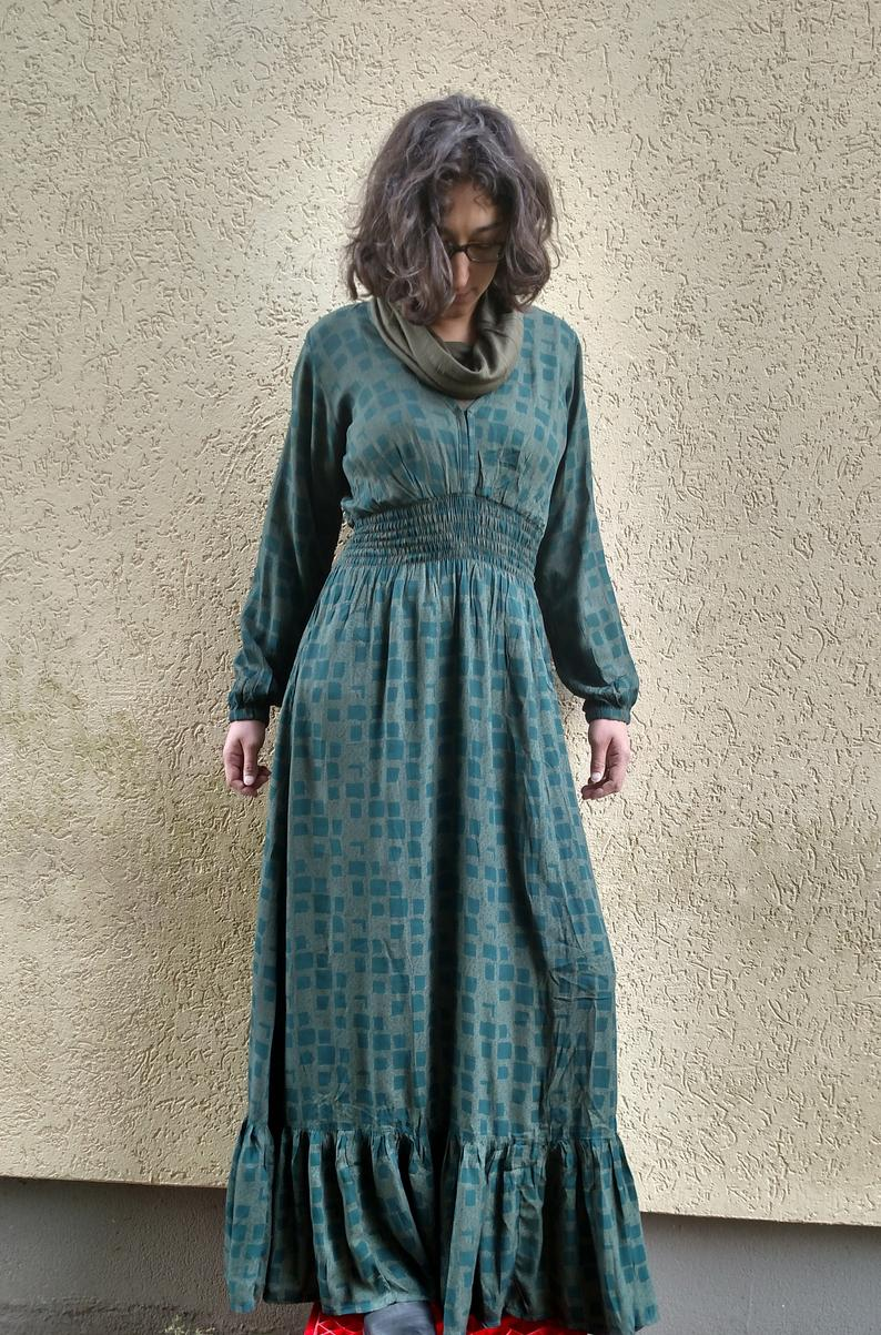 Long Boho Cotton Dress Floor Length Long Sleeve Fall Army Etsy Green Cotton Dress Maxi Dress Green Cotton Dresses [ 1203 x 794 Pixel ]