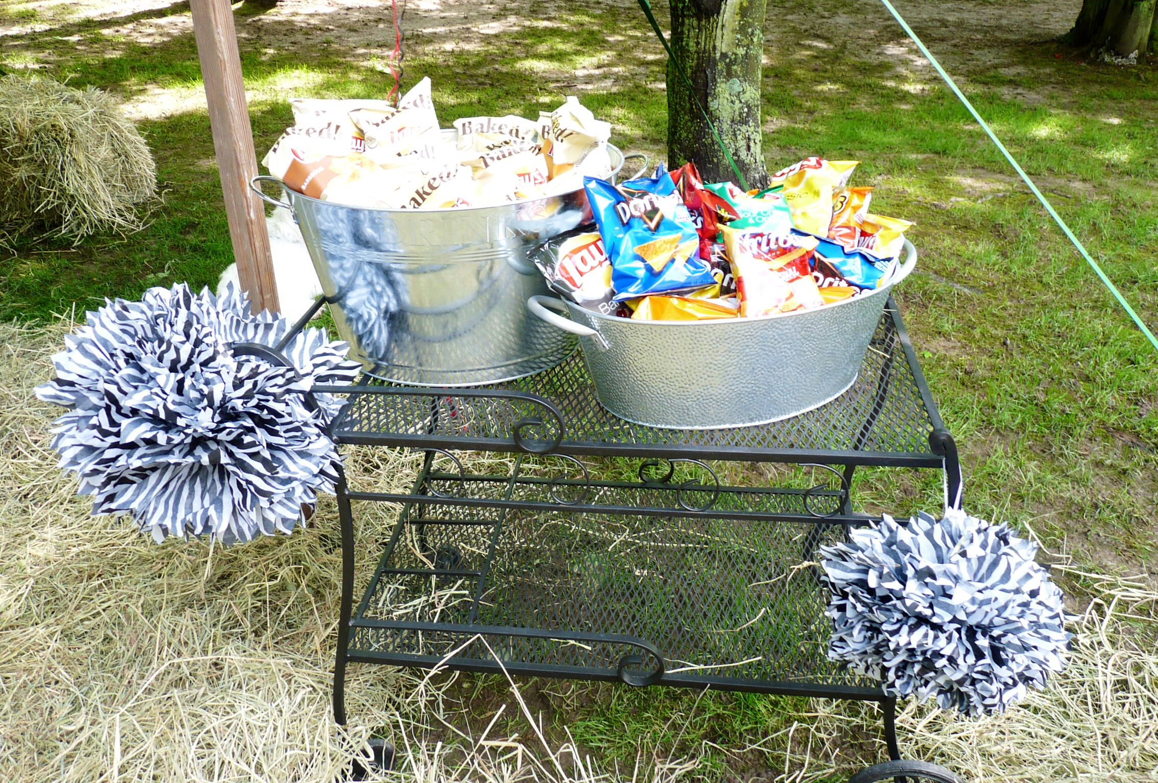 Chip station for the outdoor graduation party for Outdoor decorating ideas for graduation party