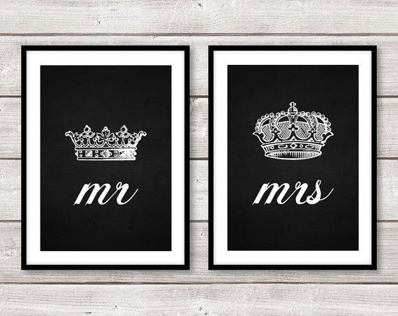 Set Of Two 2 Mr And Mrs His Hers King Queen Crown A4 Prints Wall