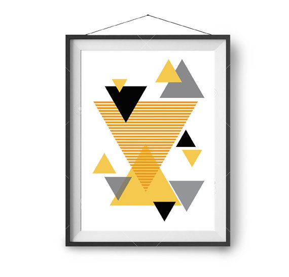Abstract Art, Geometric Print, Mustard Poster, Yellow & Black Art ...