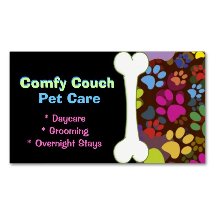 Pet Care Business Card Paw Prints Zazzle Com Pet Care Business Pet Care Pet Sitting Business