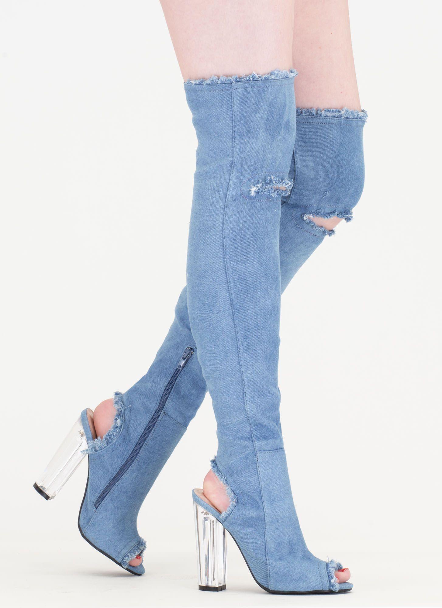 32aa9e3c6810 Clear Idea Chunky Denim Thigh-High Boots BLUE