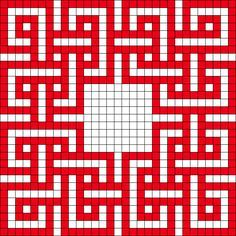 This is a bead pattern but again, I see a quilt pattern with a fussy-cut center!
