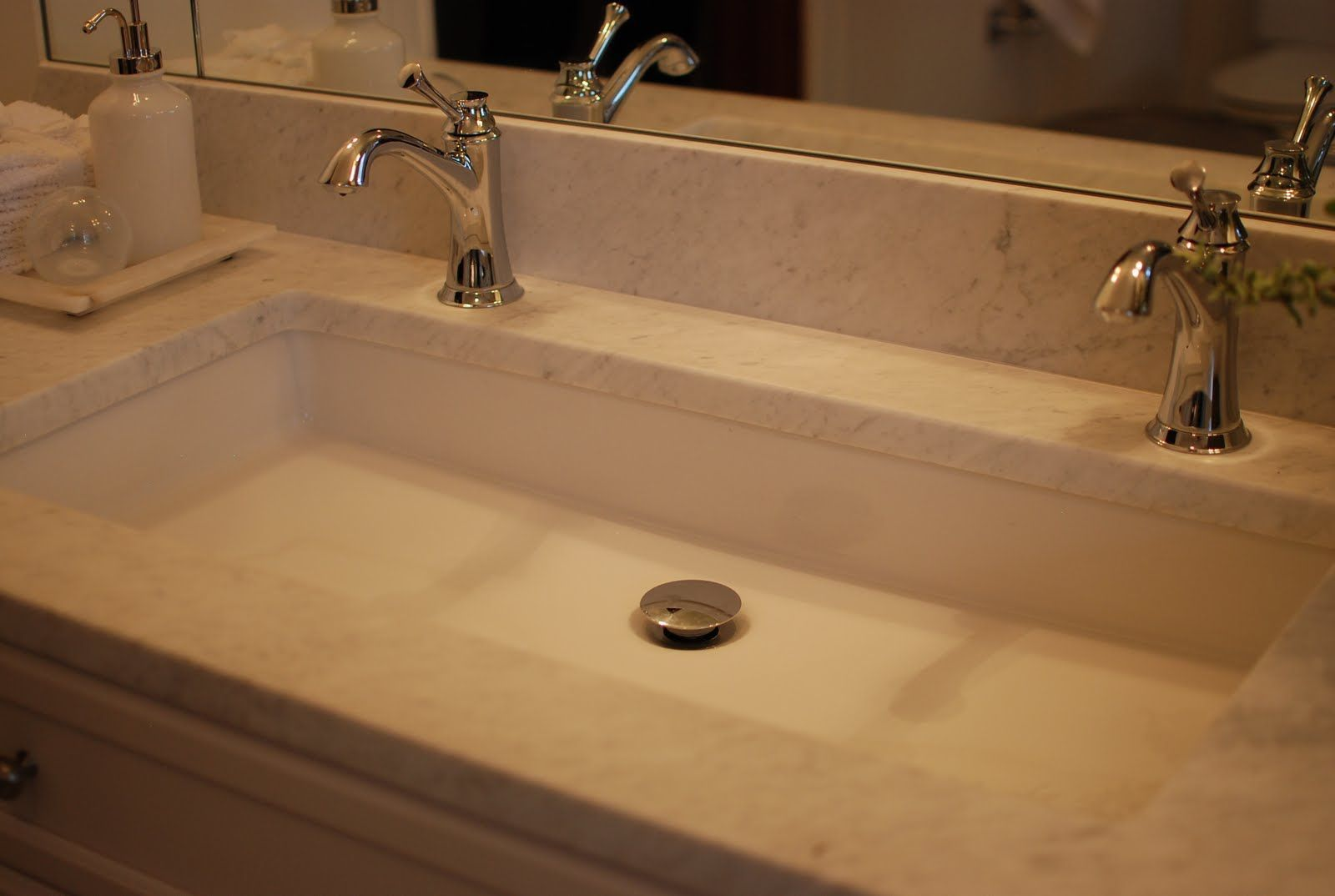 Trough Bathroom Sink With Two Faucets In 2020 Large Bathroom