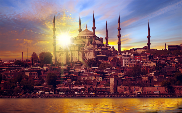 Download Wallpapers Istanbul 4k Blue Mosque Sunset