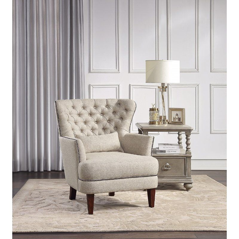 Traditional Beige Accent Chair With Kidney Pillow Marriana