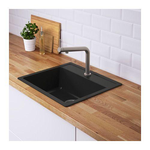 Hallviken Sink Black Quartz Composite 22x19 5 8 V Roce 2020 Drezy Ikea A Cerna