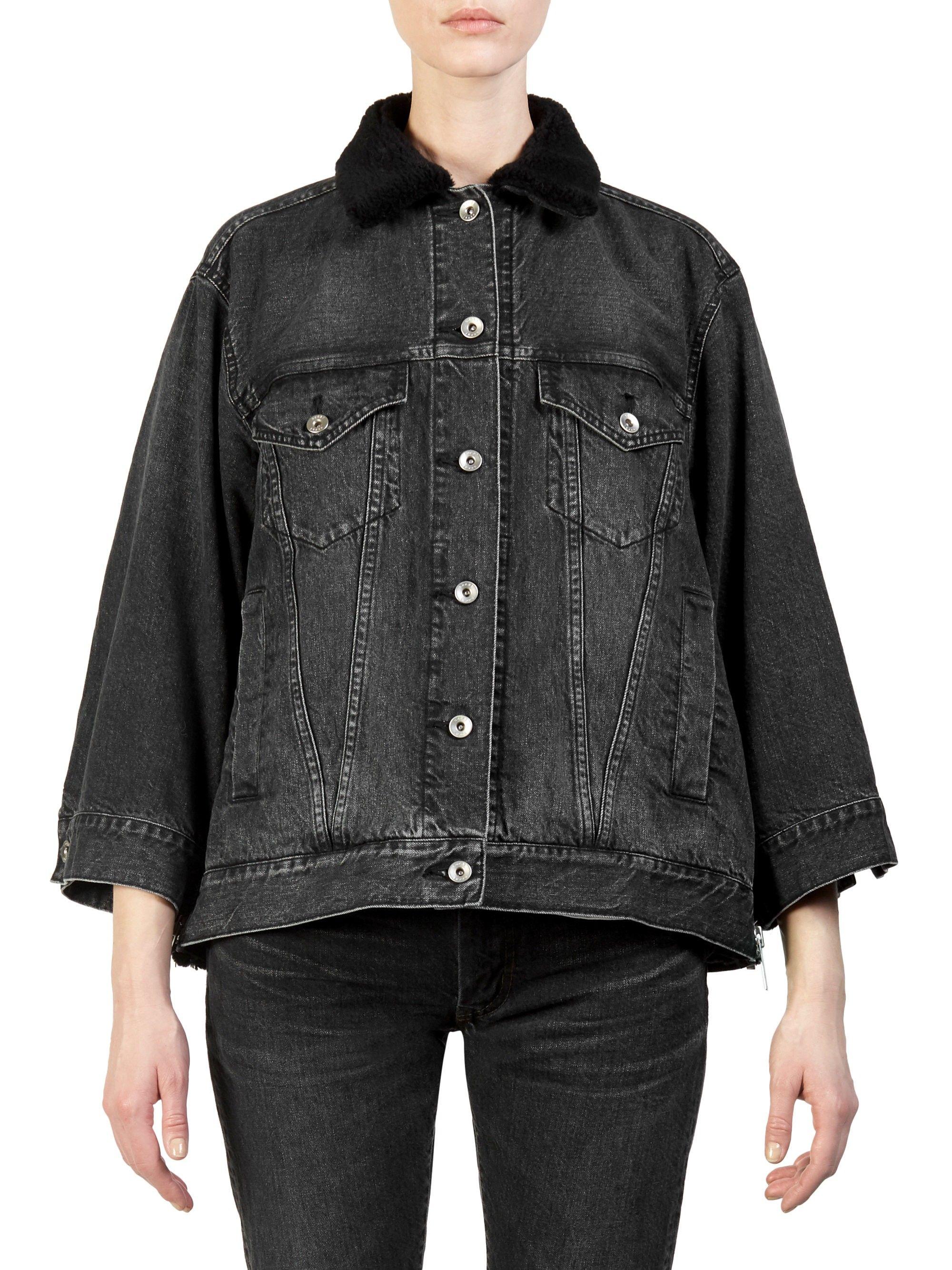 2fc6e0ba6 Sacai Faux Fur-Trimmed Denim Jacket - Black 4 (Large) | Products ...