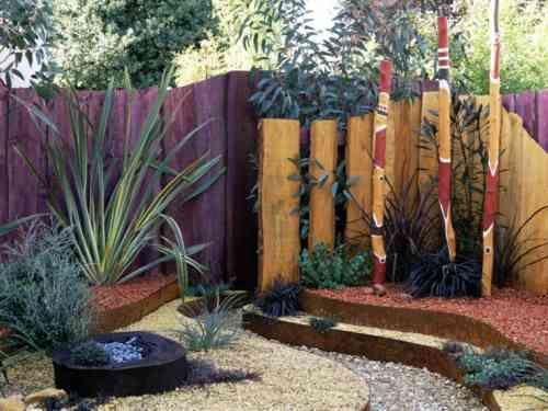 clôture de jardin en bois de style zen