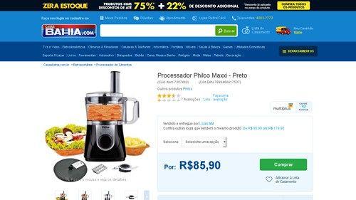 [Casas Bahia] Processador Philco Maxxi Preto 110V de R
